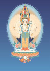 Avalokiteshvara (1000 Armed) 2 With Offerings And Background