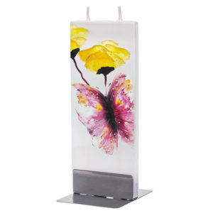 Pink Butterfly With Red Poppy Flower Flat Candle