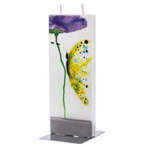 Yellow Butterfly With Violet Flower Flat Candle
